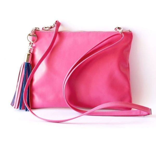 Pink Leather Mini Bag with 2-Color Tassel