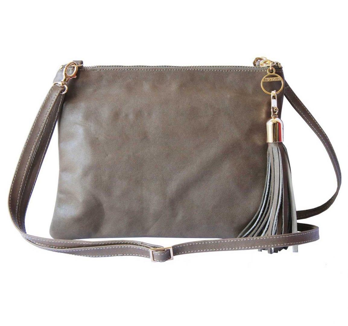 two-tone taupe leather mini bag