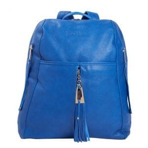 Downtown Blue Leather Backpack