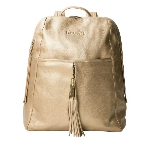 downtown gold leather backpack