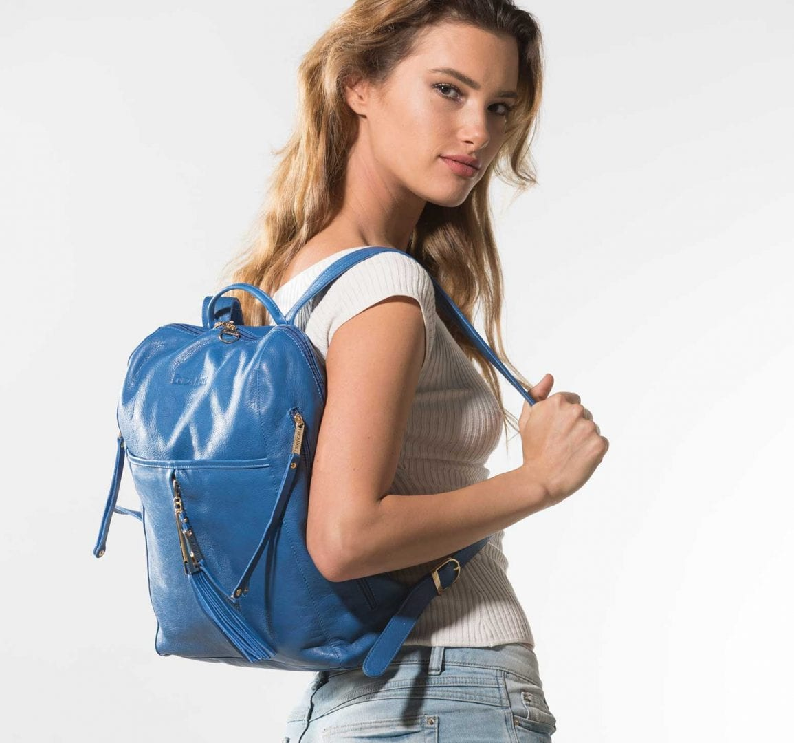 blue leather backpack