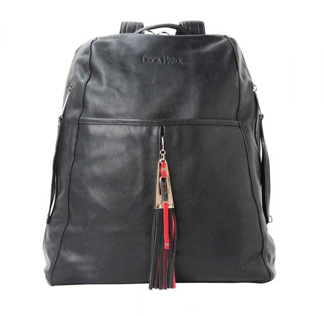 womens black red leather backpack