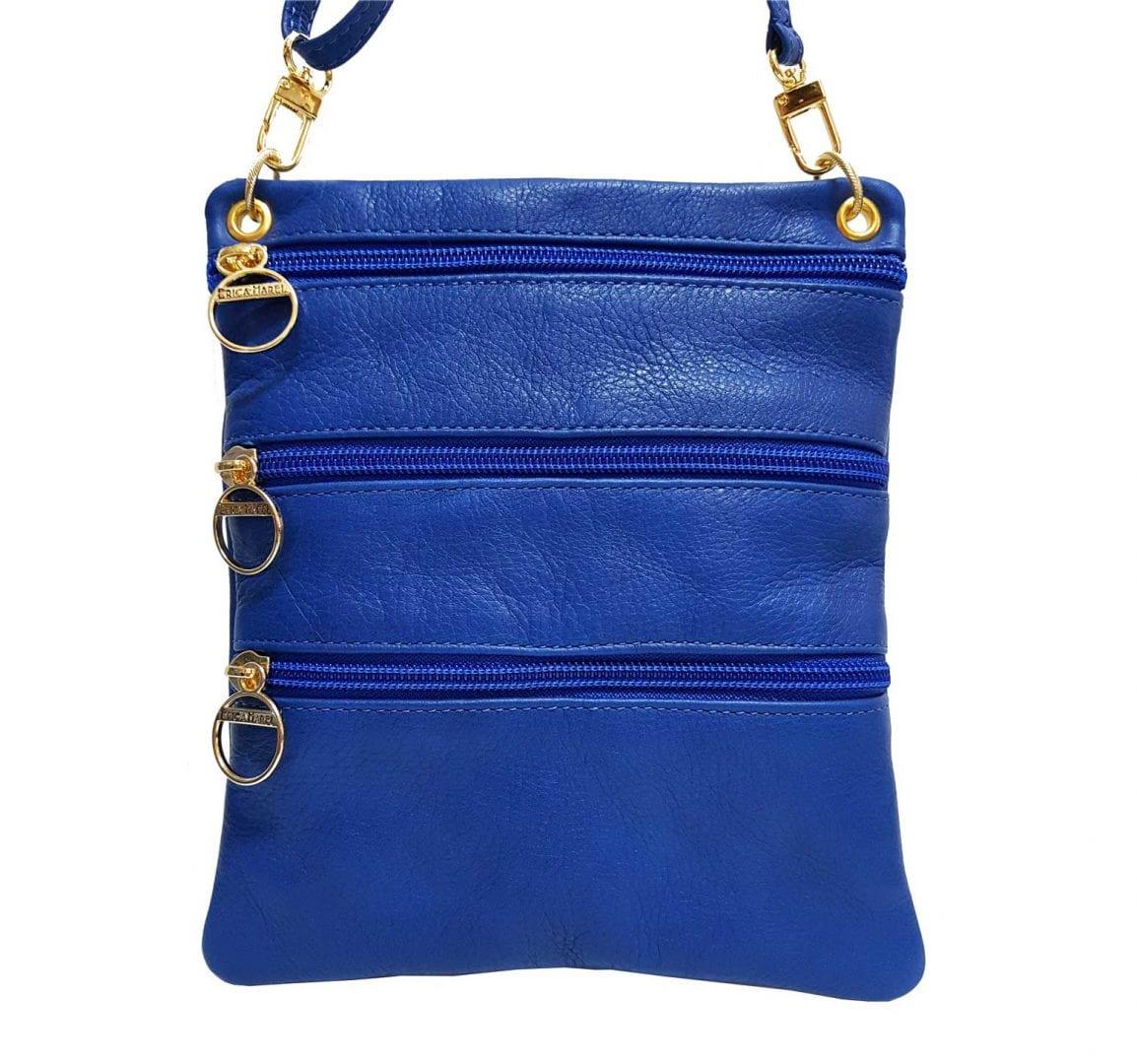 blue leather mini bag
