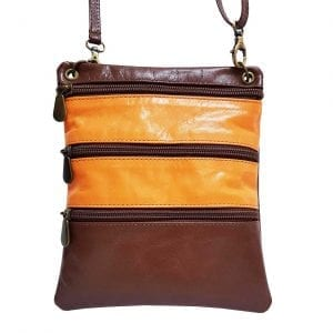 Brown Orange Leather Mini Bag