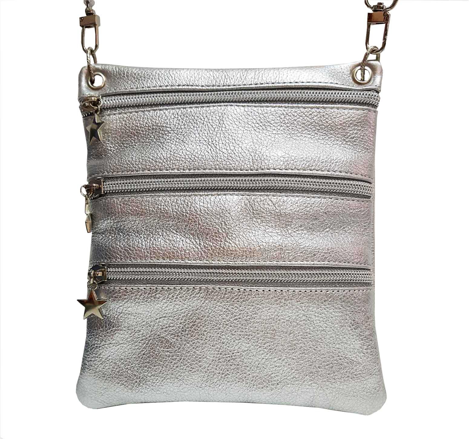 silver leather sidekick mini bag
