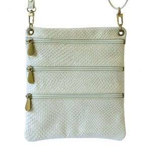 Cream Leather Travel Pouch