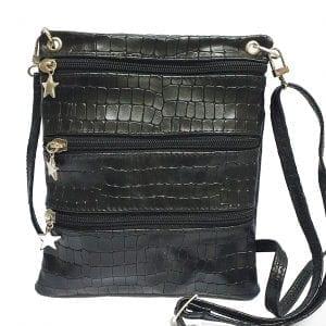 Black Croc Leather Pouch