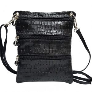 Crocodile Embossed Black Leather Mini Bag