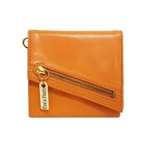orange leather womens wallet