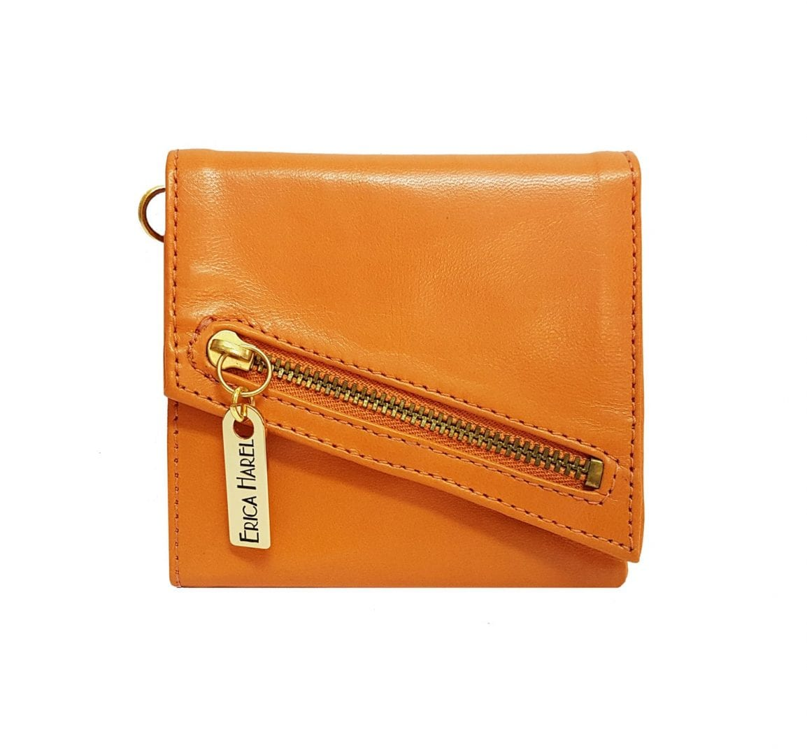 orange leather womens wallet