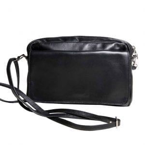 Small Black Shoulder Bag with Changeable Flap