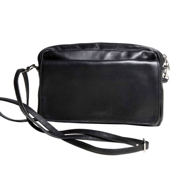 Black Leather Mini Flap Bag