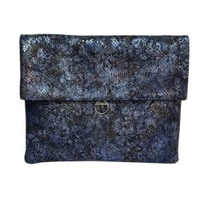 Iridescent Blue Leather Clutch