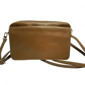Small Brown Leather Shoulder Bag with Changeable Flap