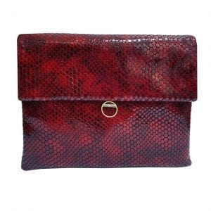 Wine Red Leather Clutch