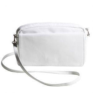 Small White Leather Shoulder Bag with Changeable Flap