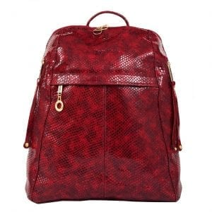City Woman Red Leather Backpack