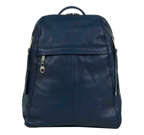 Women's Dark Blue Leather Backpack