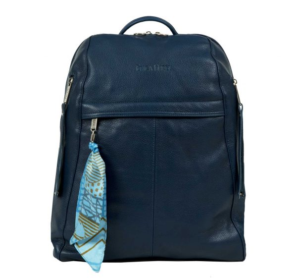 city women's blue leather women's backpack
