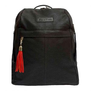 City Woman Black Leather Backpack