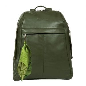 City Woman Olive Green Leather Backpack