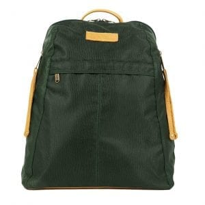 Manhattan Green Fabric and Camel Leather Women's Backpack