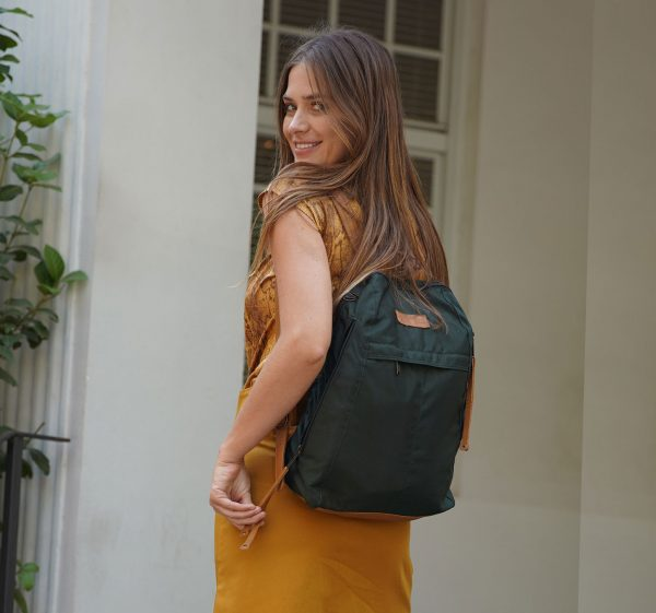 women's fabric and leather backpack