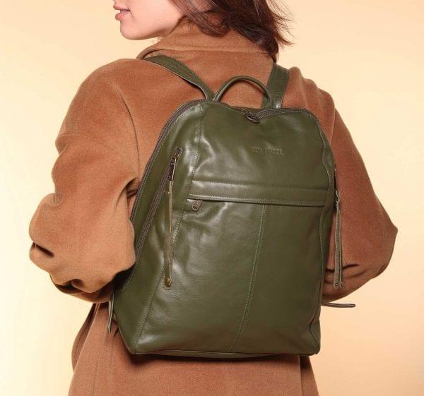 оливково-зеленый кожаный рюкзак
