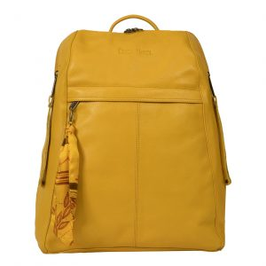City Woman Yellow Leather Backpack
