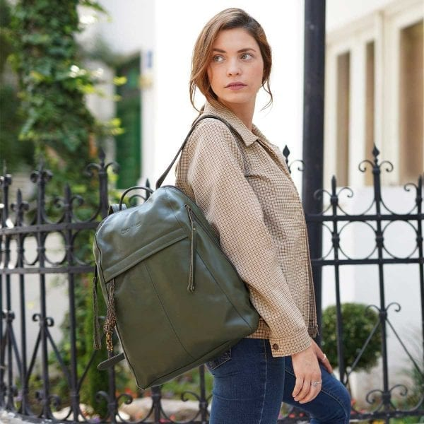 olive green leather backpack for women