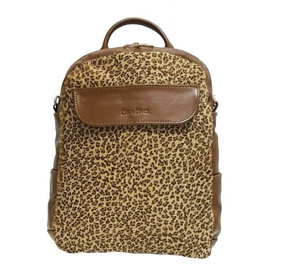 Brown Leather Mini Backpack Crossbody