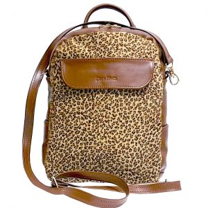 Brown Leather Mini Backpack Crossbody