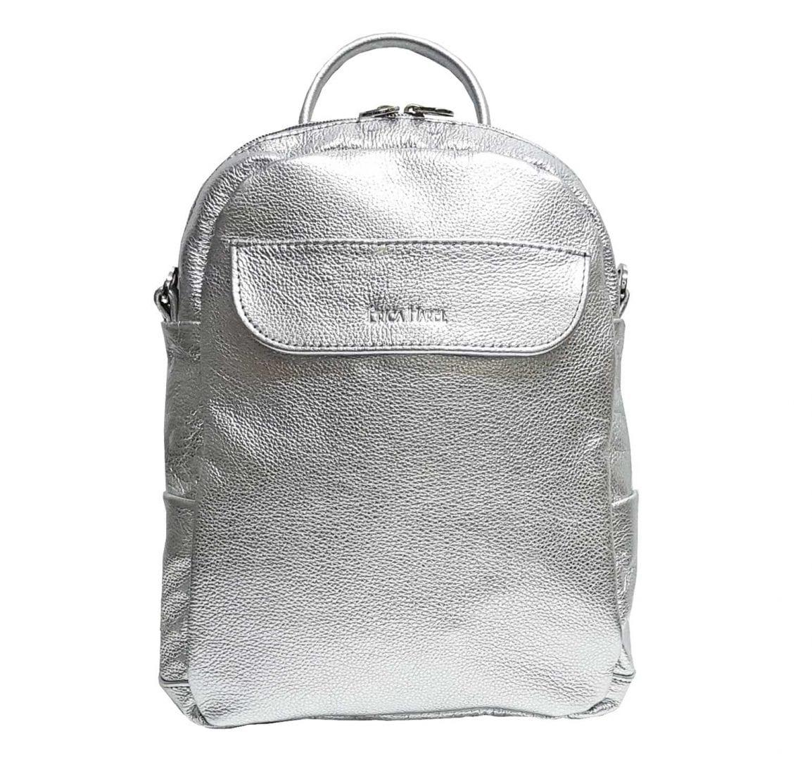 5f39a2a3b12653 Silver Leather Mini Backpack Crossbody