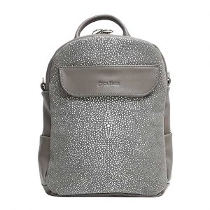 Taupe Leather Mini Backpack Crossbody