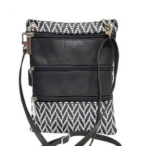 Chevron Gray White Leather Travel Pouch