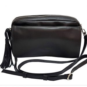 Black Leather Crossbody Flap Bag