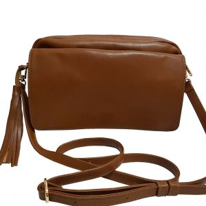 Brown Leather Crossbody Flap Bag