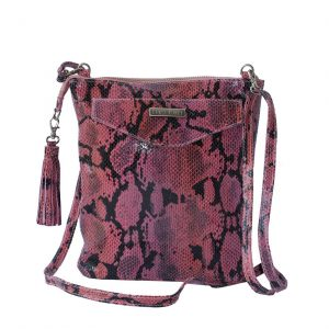 Pink Python Leather Crossbody