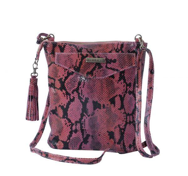 pink python leather crossbody
