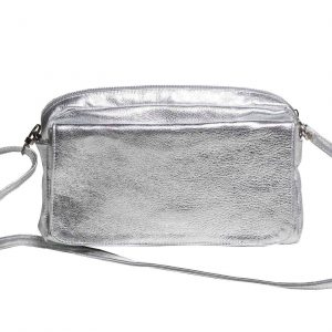 Silver Leather Crossbody Flap Bag