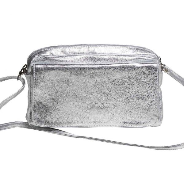 silver leather crossbody camera bag