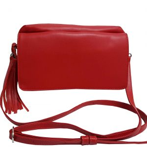 Red Leather Crossbody Flap Bag