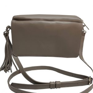 Taupe Leather Crossbody Flap Bag