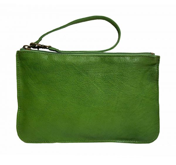 green leather belt bag