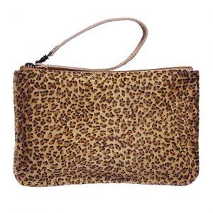 Furry Leopard Leather Belt Bag