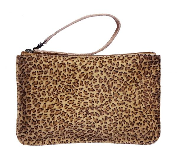 furry leopard leather belt bag