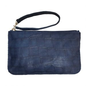 Croc Embossed Blue Leather Belt Bag