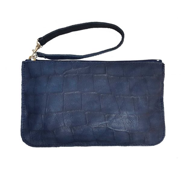 croc embossed blue leather bag