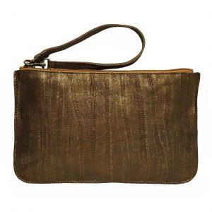 Bronze Metallic Leather Belt Bag