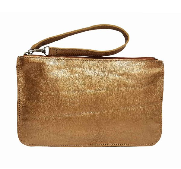 gold metallic leather belt bag